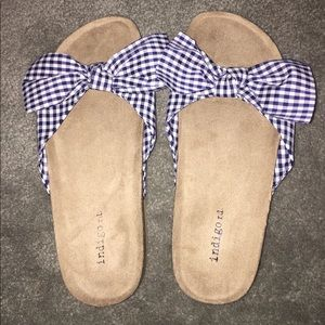 Navy Gingham flat Bowed Sandals by Indigo rd.